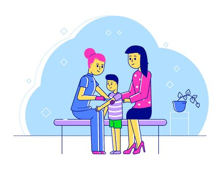 Line doctor pediatrician vector illustration. Cartoon flat happy mother and kid boy characters visiting specialist for medical examination checkup in hospital. Children healthcare isolated on white