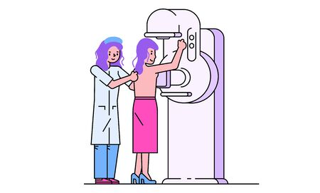 Patient visit doctor vector illustration. Cartoon line flat woman character on checkup for breast diagnosis in mammogram screening machine in hospital. Female health diagnostic isolated on white