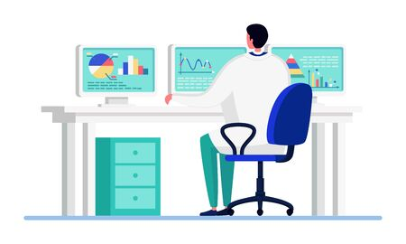 Scientist people in innovation laboratory vector illustration. Cartoon flat doctor character working, studying, making statistics analysis. Concept of big data research, tech study isolated on white