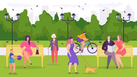 City park characteristic megacities, young, old and young people enjoy outdoor recreation, design, cartoon vector illustration. Boy plays ball, men, women rest benches, dog walking, useful rest