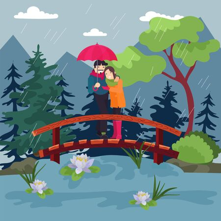 Loving couple with an umbrella in rain, beautiful Omantic, autumn weather in nature, design, cartoon style vector illustration. Rainy day, man gently hugs his beloved, smiling woman. People on outdoor