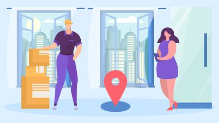 service fast delivery, box package. shipment goods to house by courier, onlain shop business, cartoon style vector illustration. Man in cap brought boxes to apartment young woman, express traffic