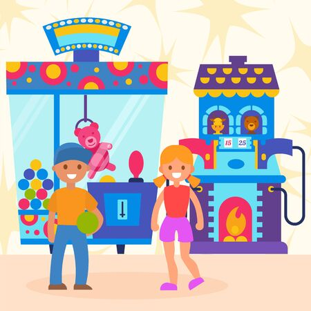Joyful children game with children s automatic gadgets, arcade play with win winner, design, cartoon style vector illustration. Cheerful boy received prize, happy lucky girl won pink teddy bear fair.