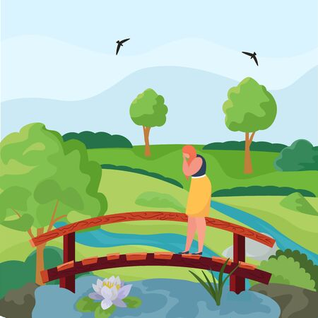Girl in depression is standing on bridge, sad woman is experiencing stress, loneliness in park, cartoon vector illustration. Upset woman in nature, emotional problems, beautiful nature, green trees.
