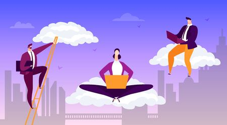 Business working internet cloud concept, vector illustration. Man woman flat character with computer information banner. Social connection by laptop, adult professional businessman. Ilustración de vector