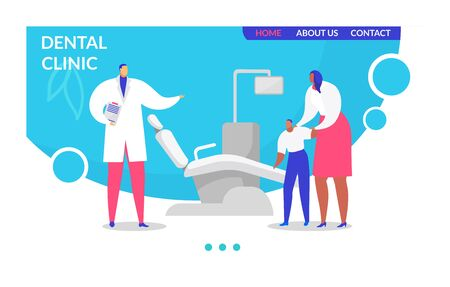 Visit dentist vector illustration. Cartoon flat landing page design template for medical clinic stomatology, man doctor character examining child with mother, advising tooth care webpage interface Archivio Fotografico - 149496390