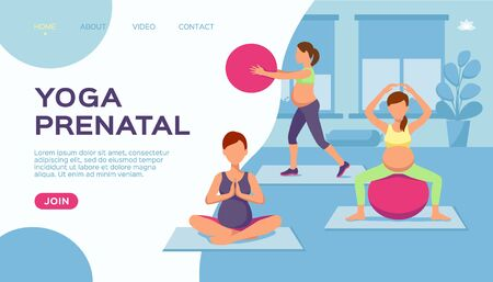 Yoga pregnant women group, vector illustration. Healthy exercise for fitness lifestyle, sport cartoon at pregnancy. Maternity people class pose with belly, stretching for future mother.