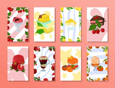 Ice cream food and cake poster, retro dessert vector illustration. Vintage snack shop card, sweet fresh menu banner. Chocolate berry decoration, delicious frozen and baked dessert. Vecteurs