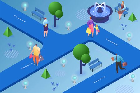 City isometric vector illustration. People man woman character walking in park, urban lifestyle outdoor design. Town road background concept, street landscape and life leisure banner.