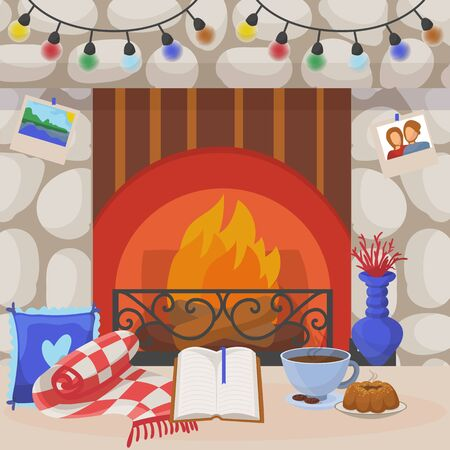 Cozy fireplace, vector illustration. Home interior with garland decoration, indoor decor fire in house. Modern flat room winter design, scandinavian comfort near firewood background.
