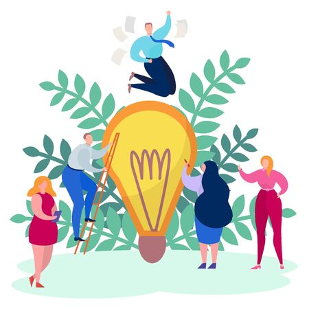 Work business people concept, creative idea vector illustration. Man woman character design success project, large bulb. Creativity graphic team at cartoon company, innovation solution. 일러스트