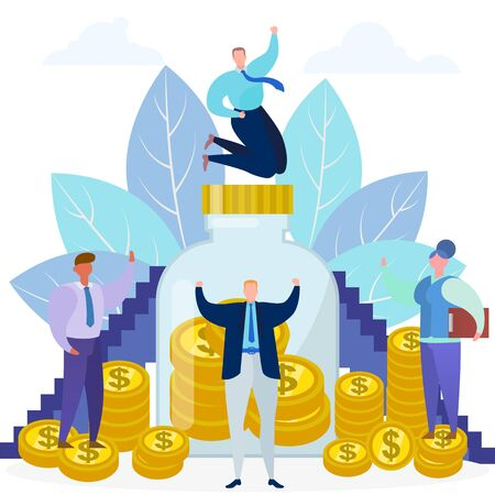 Business money income, vector illustration. Finance in bank concept, financial investment and flat people character with success invest. Coin cash investing design, dollar wealth growth.