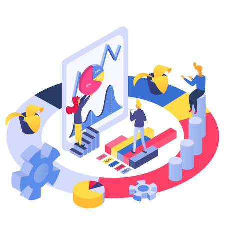 Isometric analytics business team, vector illustration. Flat people character analysis marketing chart and graph concept. Teamwork with data development, management and design strategy.