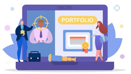 Business employee search for job concept, vector illustration. Person man character portfolio and resume for work employment. Hiring human, office professional worker look at laptop.