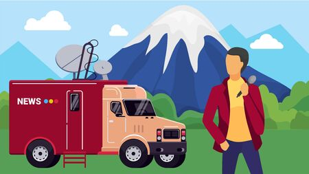 Journalist design, vector illustration. Professional reporter character with broadcast news van, cartoon broadcasting outdoor. Tv media man person with microphone, flat television reportage.