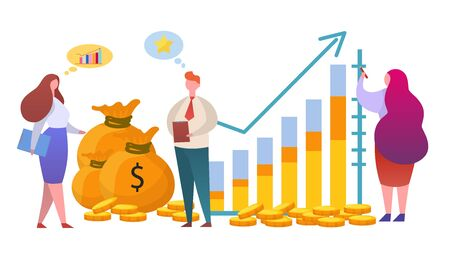 Money growth diagram, vector illustration. Finance investment and strategy for profit, manager man woman character work. Financial chart success, banking budget analysis and cartoon report.
