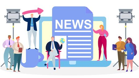 Tv media news presenters, vector illustration. Journalist, reporter person character in studio concept, broadcast interview. Professional flat broadcasting, worker with camera and press.