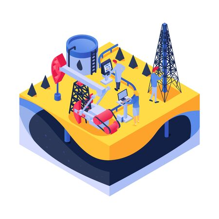 Petroleum research in lab, isometric vector illustration. 3d man woman people character work with flat equipment, oil industry. Scientist in factory building, cistern with gasoline product.