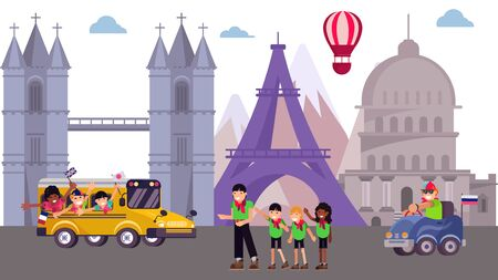 Kid excursion camp at sightseeing tour place, vector illustration. Summer tourism trip cartoon vacation at world background. Tourist in school journey, architecture flat city building.