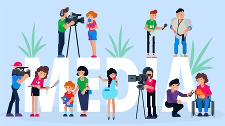 Interview media tv news, vector illustration. Reporter and journalist with microphone, press report at camera broadcasting. Flat television people character conference and reportage live.