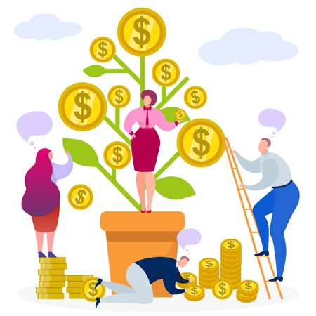 Business money tree, vector illustration. Finance coin profit before investment concept, plant with cartoon financial cash. Income success growth, people collect dollar wealth and growing currency.