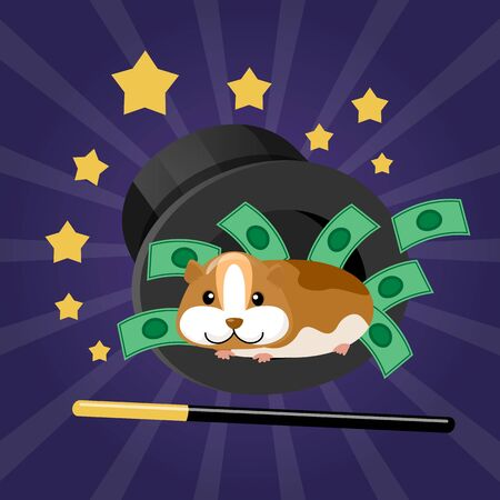 Hamster in modern focus, glowing bright vector illustration. Professional wizard imagination, light vintage miracle with flat animal. Creative holiday show, festive magic work with cartoon pet. Ilustração