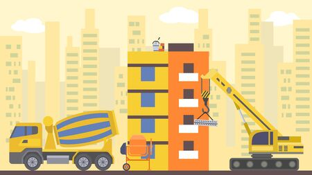 Site flat build, vector illustration. Crane design city house, home architecture industry concept and urban development. Work equipment for structure cartoon construction by excavator.