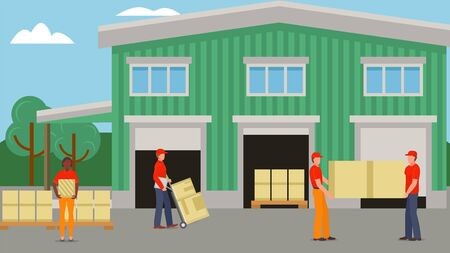 Delivery worker at warehouse, box transportation vector illustration. Person character shipping goods by transport service. Cardboard parcel logistic with pallet, cartoon male loader.