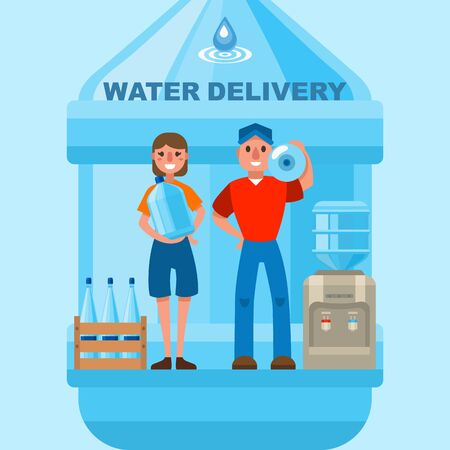 Water delivery, courier for cooler vector illustration. Flat worker character with plastic pure container for drink in office design. Shipping bottle service, aqua industry transportation.