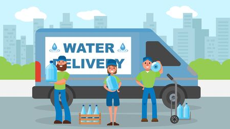 Water delivery service, courier near bottle at cargo vector illustration. Man woman worker character shipping water for company.Fast transport logistic, cartoon express aqua deliver. Ilustração