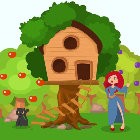 Witch near home at tree, black cat character vector illustration. Spooky halloween scene, woman in hat near cartoon house. Magic evil flat girl in october, landscape with green apple tree.