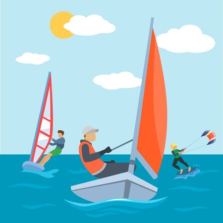 Water sport at sea, kite and surfing activity vector illustration. Extreme surfer people character have active fun at summer beach. Surf boat at wave background, cartoon board and kitesurfing. Vector Illustration