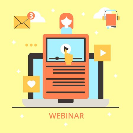 Video business education in internet, vector illustration. Online webinar at screen, web communication conference in computer. Woman icon with digital presentation information technology.