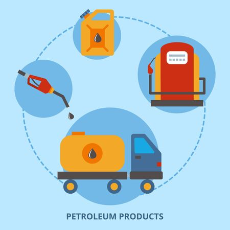 Gas, petrolium and oil product for fuel power, vector illustration. Diesel gasoline pump cartoon icon. Industrial business design. Canister, truck in industry flat concept, processing technology.  イラスト・ベクター素材