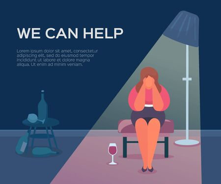 People health, psychologist we can help, vector illustration. Session therapy for patient group, psychology female support. Counseling conversation about depression, woman alcoholic in stress.