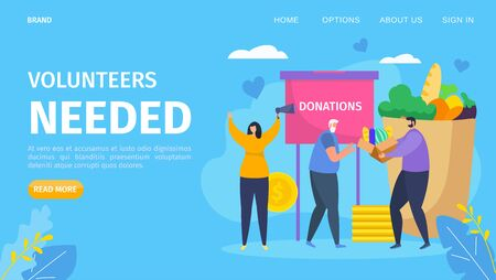 Volunteer needed cartoon concept, vector illustration. People charity community character organize donation help for social elderly group. Donation for old person, template landing banner.