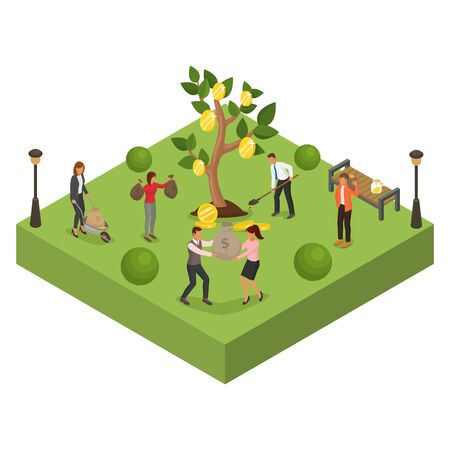 Money business finance investment tree, vector illustration. People man woman character with cartoon coin wealth profit. Flat success income, rich banking growing cash and dollar currency.