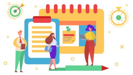 Startup flat team leader, vector illustration. Business teamwork, team management plan concept. Man woman character make strategy for task, project and group development cartoon planning.