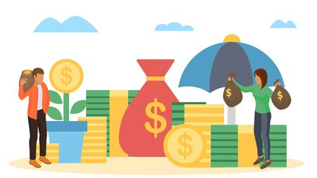 Saving finance, money business concept, vector illustration. Coin investment design, cash and flat currency economy save. Business man woman people success bank income, dollar wealth.