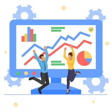 Business graph report growth, vector illustration. Man woman people character have data analytics at screen, flat finance chart. Web management analysis, graphic development statistic.