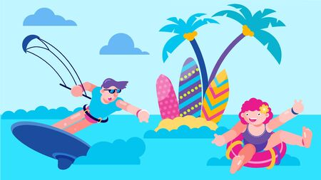 Sea vacation with fun kite in ocean, vector illustration. Summer sport active in water, beach surf activity on cartoon board. Holiday leisure outdoor action, man woman character in water.