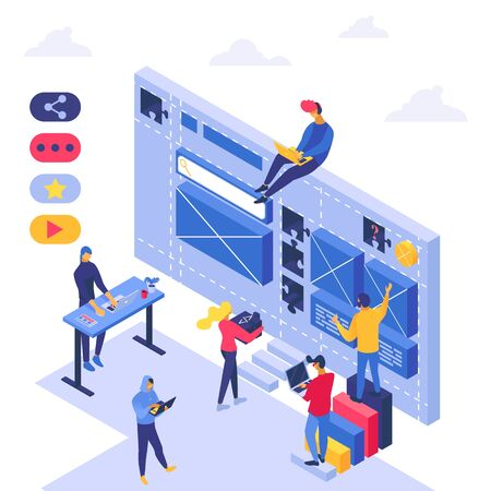 Seo analysis teamwork, vector illustration. Business development isometric team, people character near large screen technology. Graphic flat marketing agency, computer designer banner. Ilustração