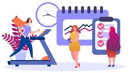 Nutrition and sport program for woman weight loss, vector illustration. Healthy food and lifestyle concept, balanced cartoon character. Health diet plan from nutritionist, body healthcare. Иллюстрация