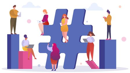 Social network, large hashtag media vector illustration. Flat people character with mobile and laptop follow online chat. Design internet tag and community, trend post and feedback.