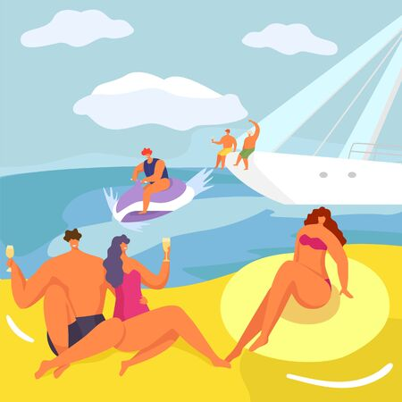 Party at yacht, people in cruise vector illustration. Luxury lifestyle, man woman character on boat at cartoon sea adventure. Beautiful vacation at water transport, happy leisure on sail sunny nature.