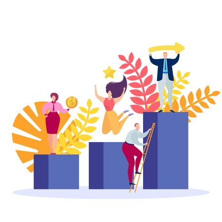 Business goal achievement, vector illustration. Success people on cartoon stage, place, podium with flat competition trophy. Victory and professional growth design, office winner banner.