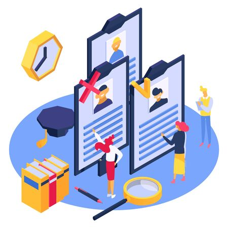 Hr isometry employee work, vector illustration. Isometric hiring to job team, business employment and human recruitment. People character look at resume design concept, flat resource. Ilustração