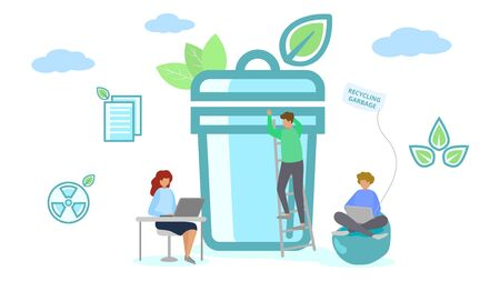 Recycling garbage team, cartoon character near large bean vector illustration. Clean rubbish trash recycling flat icon design, man woman people work with plastic waste business concept.