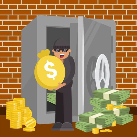 Thief with money from safe, vector illustration. Criminal robbery, man robber burglar character theft cartoon coin and cash. Crime steal in bank design concept, person with flat dollar bag. Vettoriali