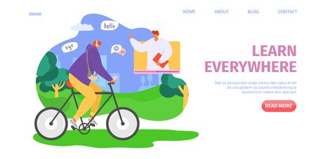 Education online, learn everywhere, vector illustration. Audio lesson in internet school, knowledge about language for student character. Listen course in headphones during bicycle ride. Illustration